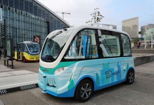 A self-driving shuttle, like the one pictured here, was involved in a minor bang-up with a delivery truck during a test in Las V