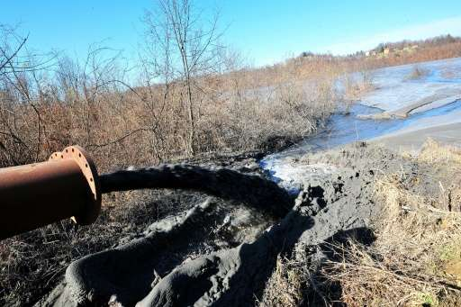 Ash from Bosnia's largest coal burning electrical power plant near Tuzla, is dumped near the plant