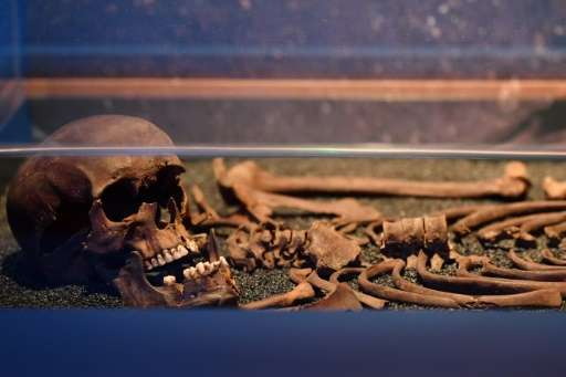A skeleton beleived to date from 16-17th century and discovered during the Crossrail excavations at Liverpool Street is seen in