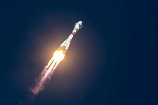 A Soyuz rocket blasting off from the European Space Center, pictured in December 2015, launching one of the four satellites of t