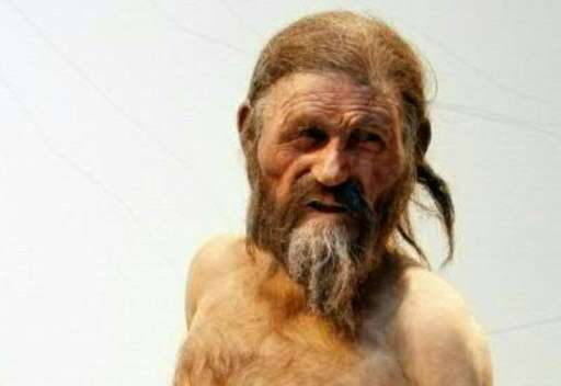 "A statue representing ""iceman"" mummy Oetzi, discovered on 1991 in the Italian Schnal Valley glacier, displayed at the"