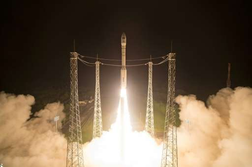 A Vega launcher carrying the Sentinel-2B satellite lifts off from Europe's Spaceport in Kourou, French Guiana on March 7, 2017,