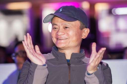 Billionaire Alibaba founder Jack Ma celebrates taking $25 bn in the company's annual 'Singles Day' promotion