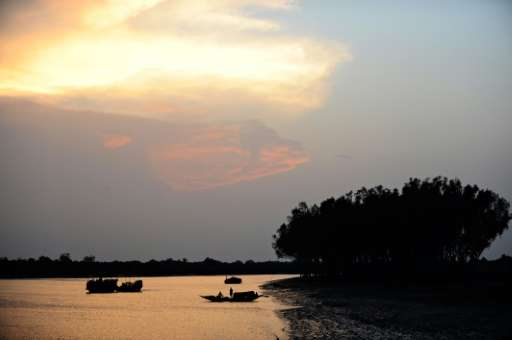 Boats are seen at sunset in the Sunderbans in Khulna, some 350 kms southwest of Dhaka. The UN has warned that a coal power plant