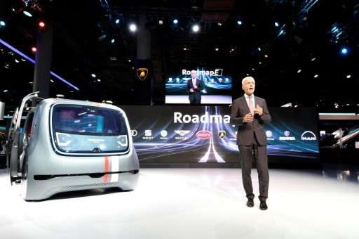 CEO of German carmaker Volkswagen (VW) Matthias Mueller presented Sedric, the group's first autonomous car prototype during a pr