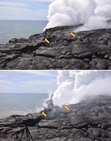 Cliffs collapse at Hawaii volcano, stopping 'firehose' flow