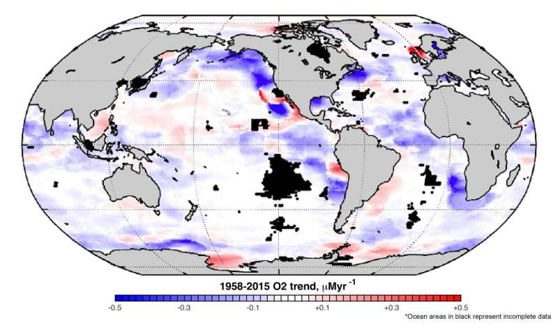 Decades of data on world's oceans reveal a troubling oxygen decline