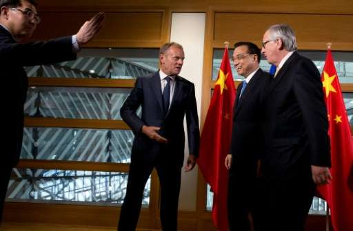 European Commission President Jean-Claude Juncker, European Council President Donald Tusk and Chinese Premier Li Keqiang are vow