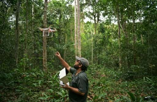Felipe Spina Avino, World Wildlife Fund (WWF) forestry conservation analyst, uses drones to map an area of rainforest in the Itu