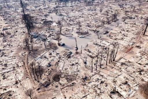Fire damage in the Coffey Park neighborhood of Santa Rosa, California
