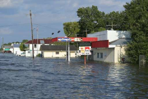 Floodwaters cover streets in Nome, Texas, following Hurricane Harvey