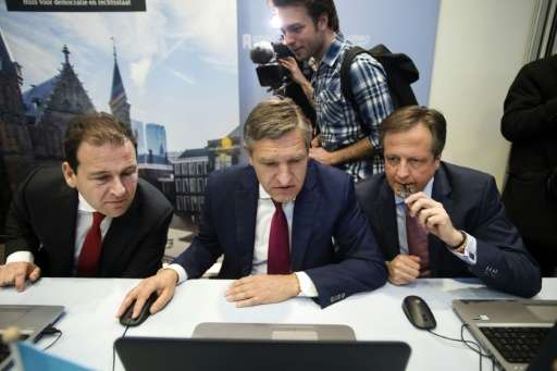 (From left) PvdA Party leader Lodewijk Asscher, CDA Party leader Sybrand Buma and D66 Party leader Alexander Pechtold file in th