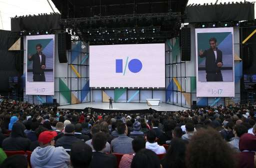 Google chief executive Sundar Pichai delivers the keynote address at the 2017 Google I/O Conference, where he stressed the impor
