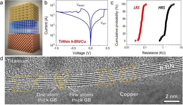 Hexagonal boron nitride enables the fabrication of 2-dimensional electronic memories