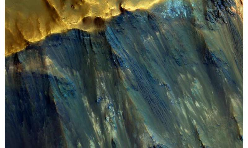 Hues in a crater slope