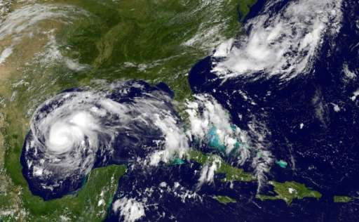 Hurricane Harvey swirls off the US Gulf Coast on Thursday afternoon