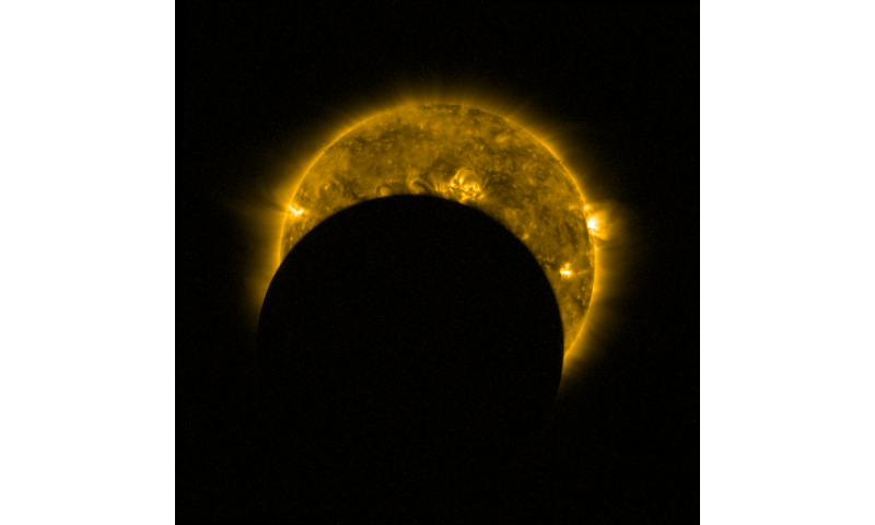 Image: A partial solar eclipse seen from space