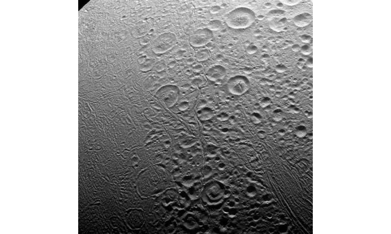 Image: North pole of Enceladus