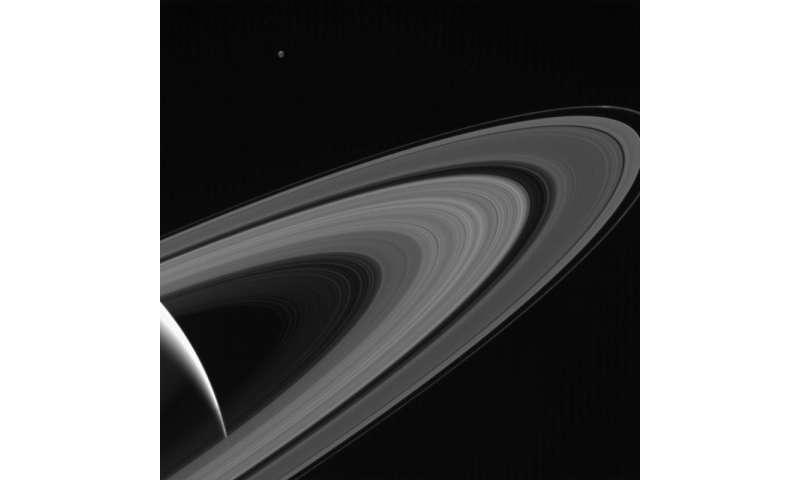 Image: Saturn-lit Tethys
