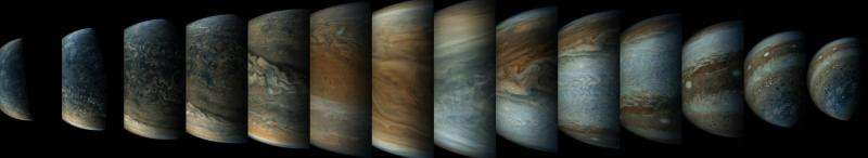 Image: Sequence of Juno spacecraft's close approach to Jupiter