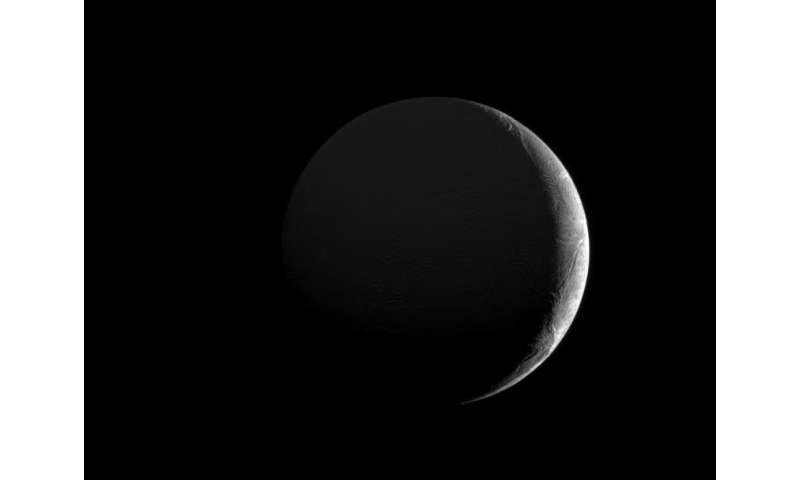 Image: Slim crescent of Enceladus