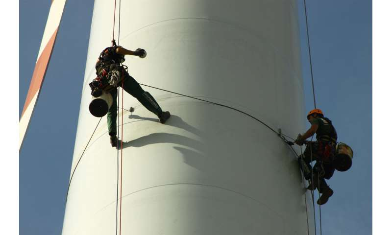 Inspecting rotor blades with thermography and acoustic monitoring