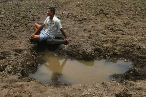 Local fisherman, Wilman Estrada is now unemployed as Guatemala's Lake Atescatempa has dried up