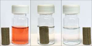 Low-cost iron hydroxide coatings can clean heavily contaminated water