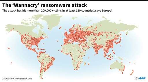 Map showing the extent of the 'Wannacry' ransomware attack so far