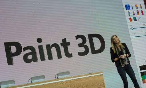 Microsoft executive Megan Saunders introduces Paint 3D at a Microsoft news conference in 2016 in New York. The original Paint ap
