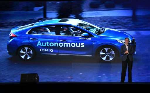 "Mike O'Brien, vice president of Hyundai North America, said the autonomous Ioniq concept ""is a normal car, not a science pr"