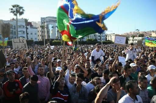 Moroccans take part in a demonstration against corruption, repression and unemployment in the northern city of Al Hoceima on May