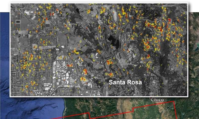 NASA damage map aids California wildfire response