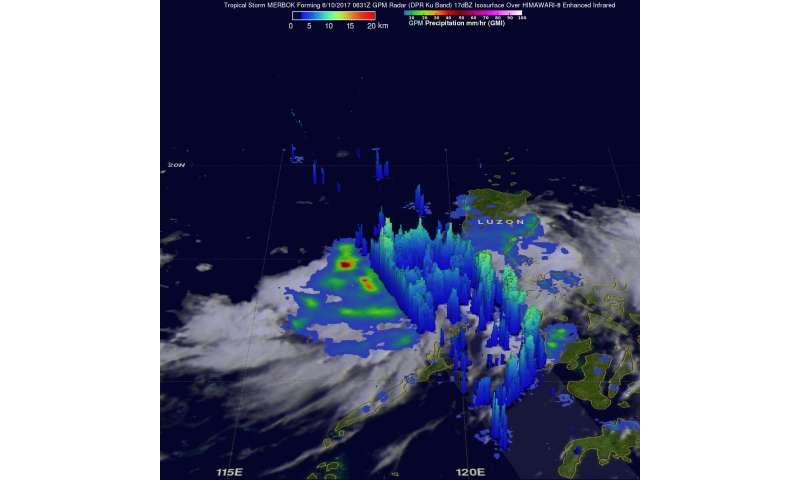 NASA eyed rainfall rates in Tropical Storm Merbok before landfall