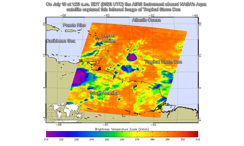 NASA looks at compact Tropical Storm Don in infrared light