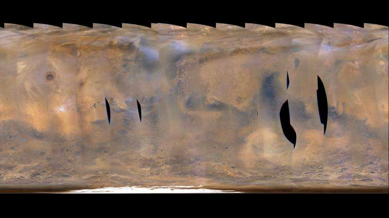 NASA Mars orbiter tracks back-to-back regional storms