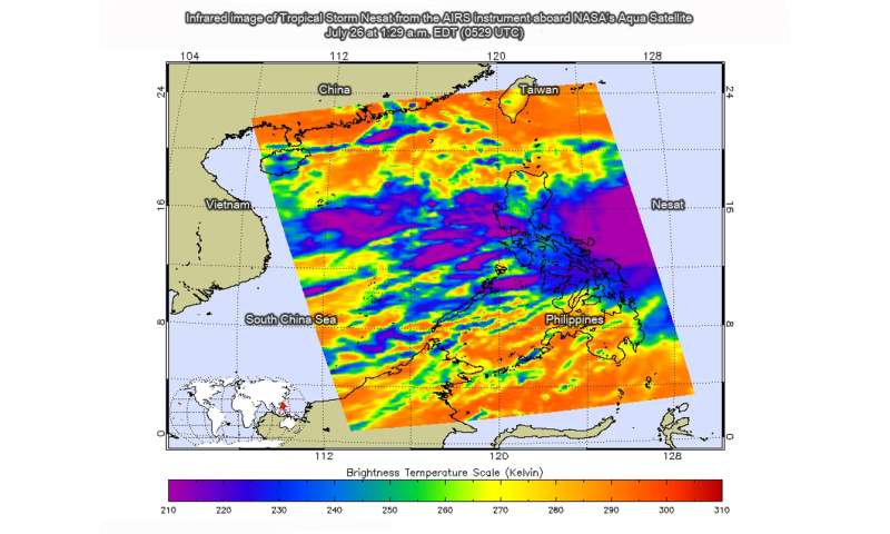 NASA sees newly formed Tropical Storm Nesat near Philippines