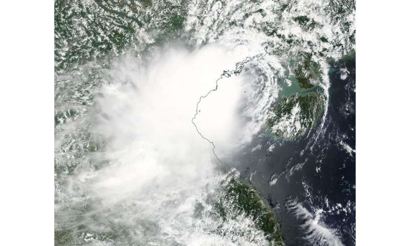 NASA sees short-lived Tropical Depression 22W make landfall