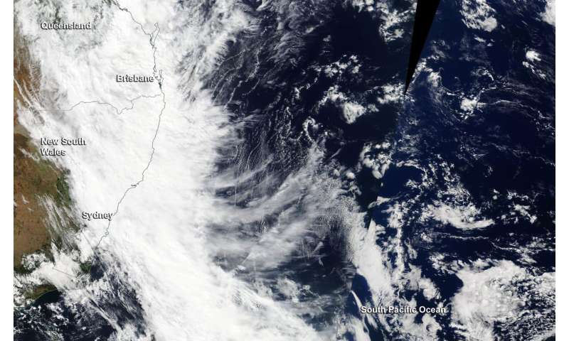 NASA sees the remnants of Tropical Cyclone Debbie moving off Australia's east coast