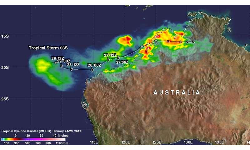NASA's IMERG calculated rainfall of Tropical Cyclone 03S