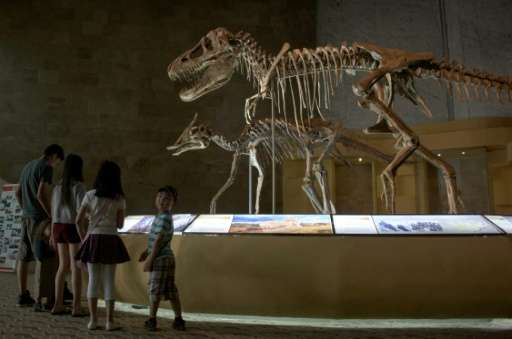 People visiting a museum in Ulan Bator displaying dinosaur fossils returned from overseas