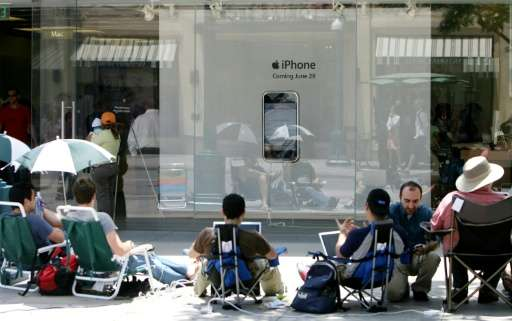 People wait outside an Apple store in Santa Monica, California for the release of the first iPhone on June 29, 2007