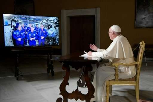 Pope Francis chats with six astronauts at the International Space Station