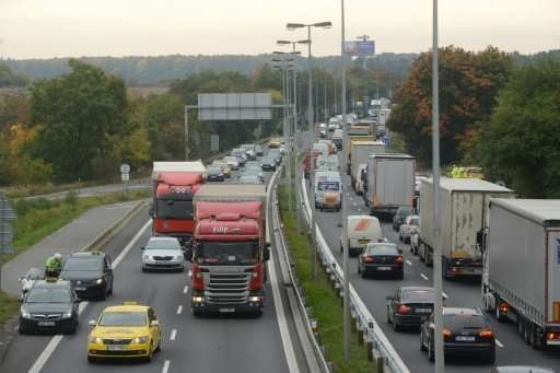Protesters slowed traffic to Prague's Vaclav Havel airport