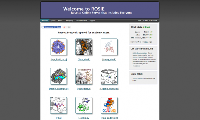 Rosetta online server that includes everyone