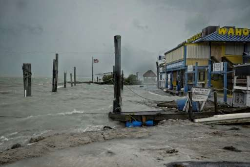 Rough surf damaged the docks at Whale Harbor in the Florida Keys as winds and rain from the outer bands of Hurricane Irma arrive