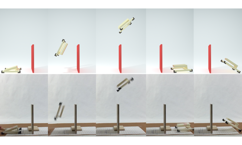 Somersaulting simulation for jumping bots