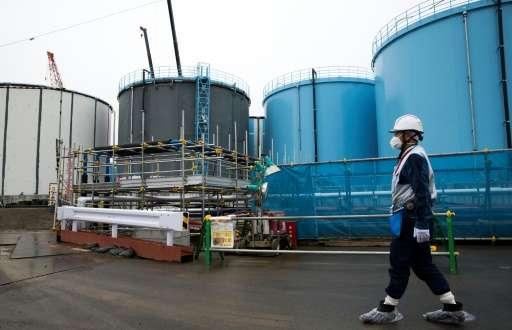 Storage tanks for contaminated water at the Fukushima plant