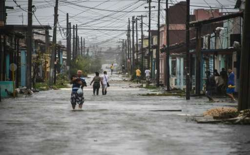 Streets were flooded by the passage of Hurricane Irma in the town of Caibarien in Cuba's Villa Clara province