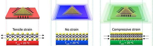 Stretching to perfection of 2-D semiconductors